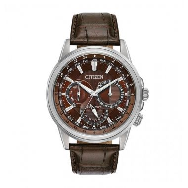 Citizen Eco-Drive Calendrier Leather Stainless Steel 44mm Men's Watch